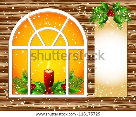 Christmas window with candles and decorated paper for text