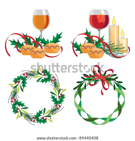Christmas wine, mince pie and wreath set   Set of four design elements for the festive season. Each illustration isolated on own layer.