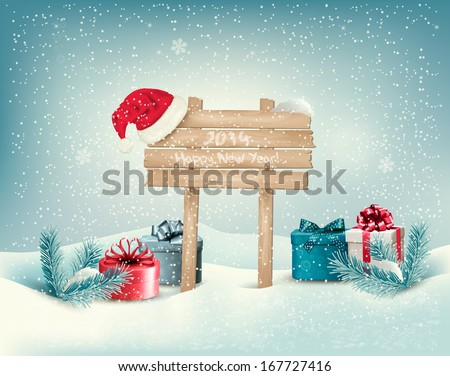 Christmas winter background with presents and wooden board. Vector.