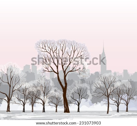 christmas winter cityscape with