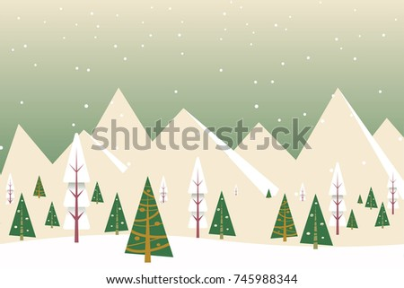 Christmas winter flat landscape background. Forest woods with mountains. New Year vector greeting card