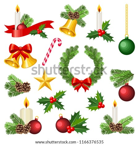 Christmas winter holiday decoration collection - vector color illustration