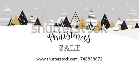 Christmas winter landscape background. christmas sale. christmas sale banner