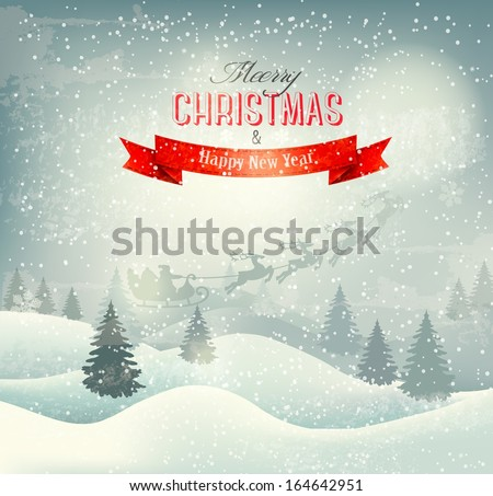 Christmas winter landscape background with santa sleigh Vector
