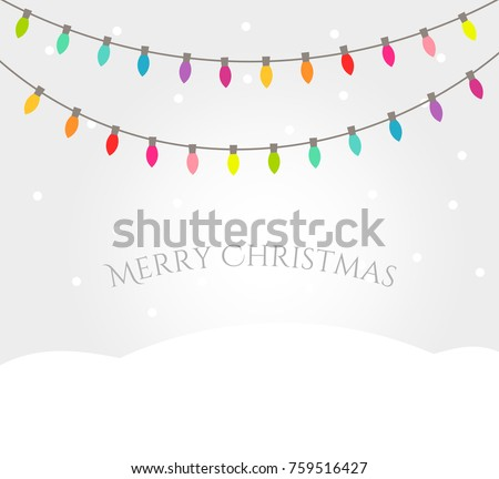 Christmas winter landscape with colorful lights strings. Christmas greetings card illustration