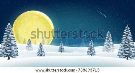 christmas winter night hill