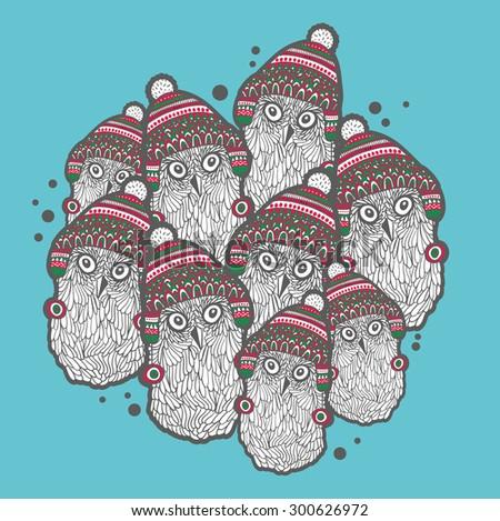 christmas winter owls vector