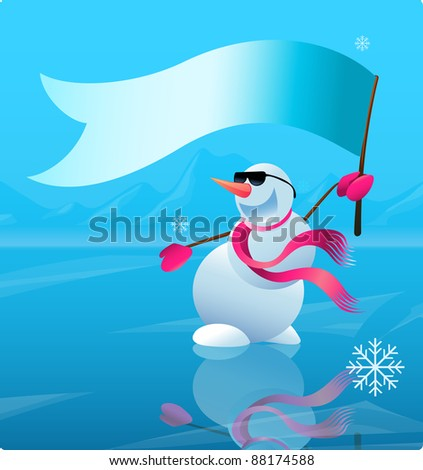 Christmas winter scene background. Cute snowman in north pole