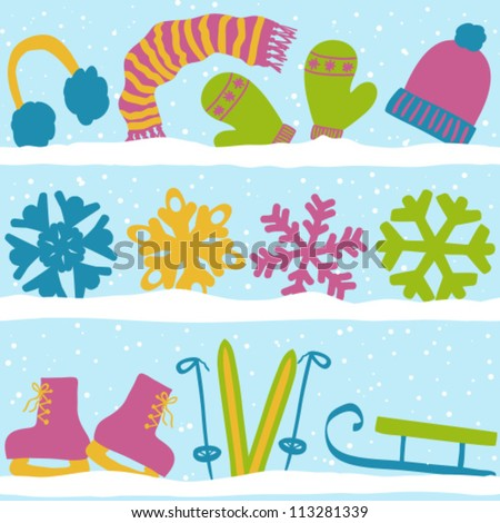 Christmas winter seamless pattern, clothes, snowflakes and sport equipment on snow