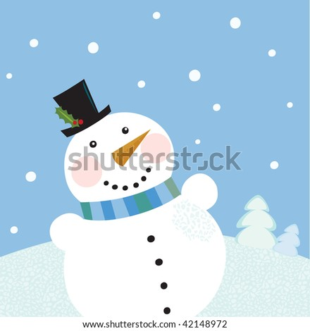 stock vector : Christmas winter snowman background.
