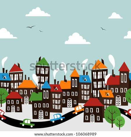 Christmas winter time town pattern background. Vector file layered for easy manipulation and custom coloring.