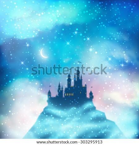 christmas winter vector castle