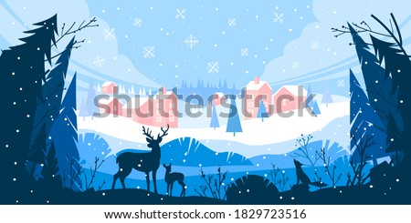 Christmas winter vector landscape with snow drifts, mountain village, forest, pines, reindeer. Holiday nature background with fox, hills, houses. X-mas panoramic banner with winter outline landscape
