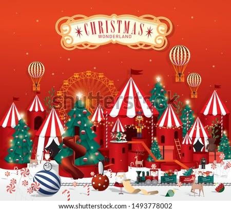 christmas winter wonderland greetings template vector/illustration