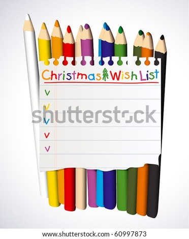 Christmas wish list over crayons