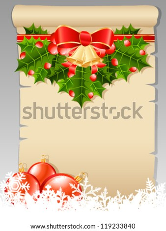 Christmas wish list with Christmas decoration - vector illustration