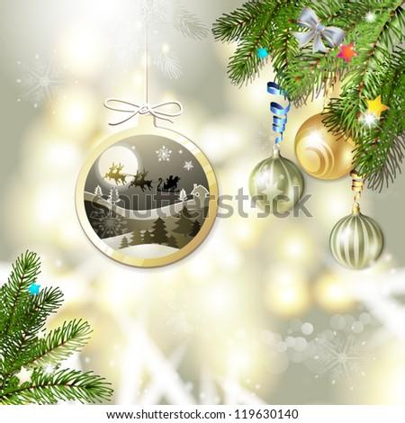 Christmas with balls and Santa sleigh - stock vector