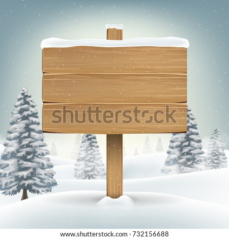 christmas wood board sign with snow winter