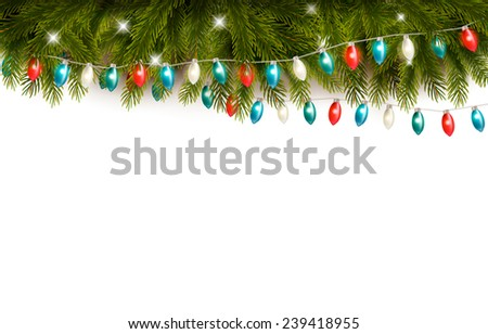 Christmas wooden background with branches and a garland. Vector  #239418955