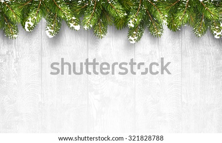 Christmas wooden background with fir branches and snow. Vector illustration