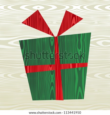 Christmas wooden gift shape greeting car background. Vector file layered for easy manipulation and custom coloring.