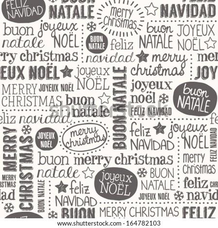 Christmas words seamless pattern