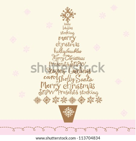 Christmas words within tree - vector illustration