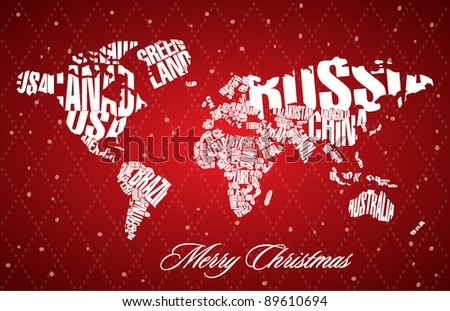 christmas world map in
