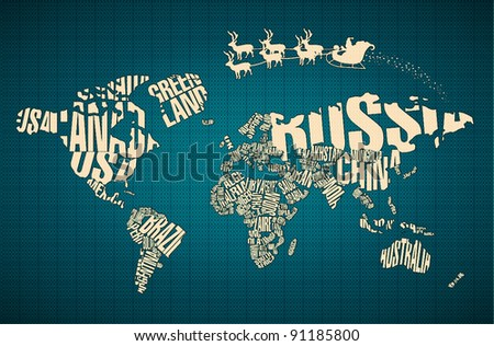 Mapa de la palabra de amrica 4 descargue grficos y vectores gratis christmas world map in typography with santa claus and deers gumiabroncs Image collections