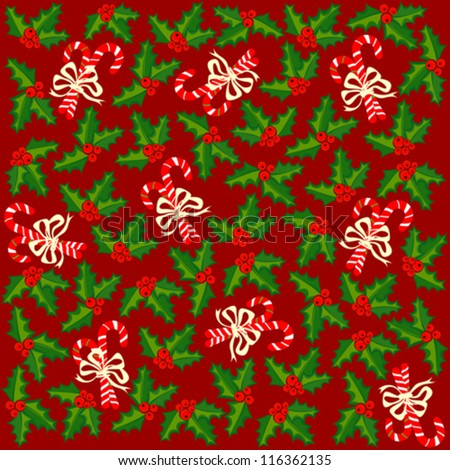 Stock Vector Christmas Wrapping Paper With Holly Berries And Sweets On Red Background