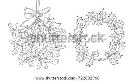 Christmas Wreath And Hanging Mistletoe Set Collection Vector Artwork Black White Frame Border Line Page
