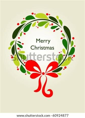 Christmas wreath card template - 1