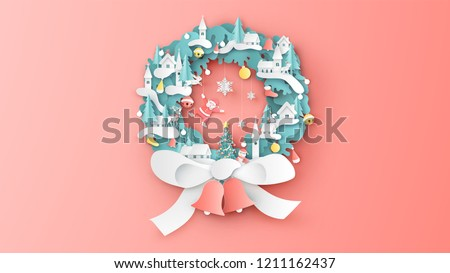 Christmas wreath decorate with village, snowman, Santa Claus, animals, bell, ball, ribbon, snowflake, sock and Christmas tree. Christmas wreath design. paper cut and craft design. vector,illustration.