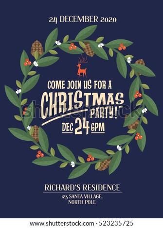 christmas wreath/garland christmas party invitation card template vector/illustration