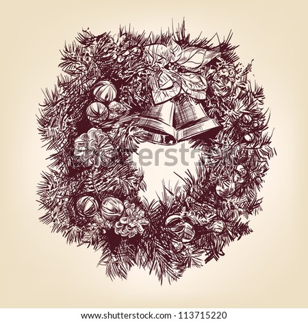 christmas wreath hand drawn vintage