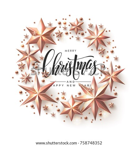 Christmas Wreath made of Cutout Rose Gold Stars with Calligraphic Inscription. Chic Christmas Greeting Card.