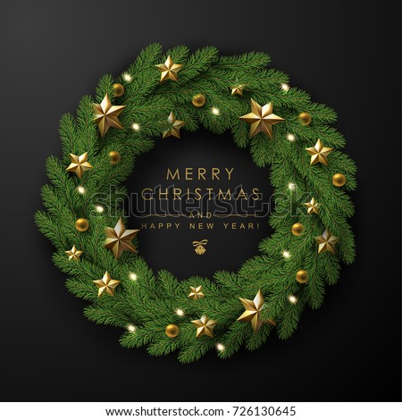 Christmas Wreath Made of Naturalistic Looking Pine Branches Decorated with Gold Stars and Bubbles.