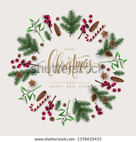 Christmas Wreath Made of  Pine Branches, Berries, Christmas Flowers and other Festive Elements
