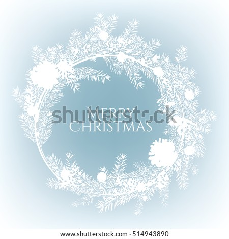 christmas wreath on a blue