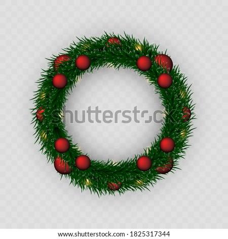 Christmas wreath. PNG wreath. Garland. Christmas. Celebration. Checkered background. Stockfoto ©