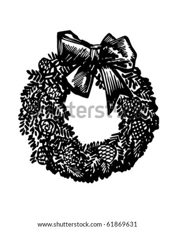 Christmas Wreath - Retro Clip Art