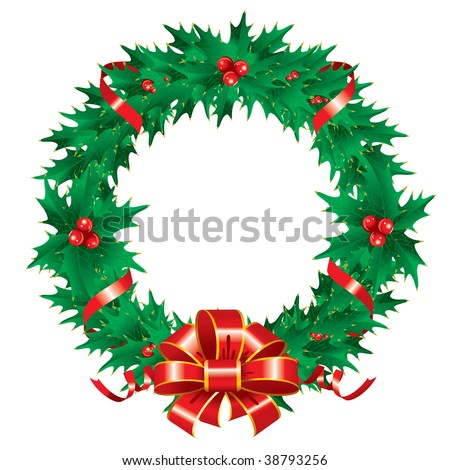 Christmas wreath. Vector editable.