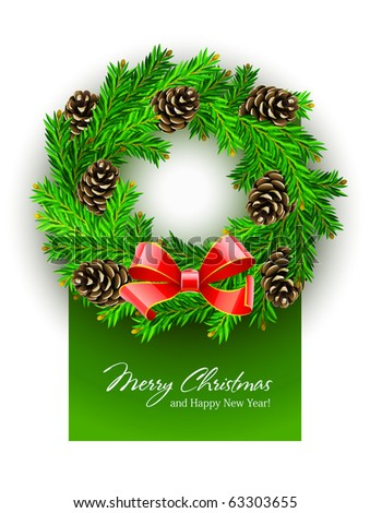 Christmas Wreath. Vector Illustration. Isolated On White Background
