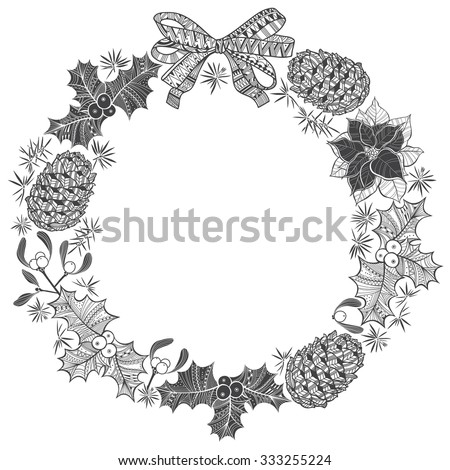 Christmas wreath. Vector illustration with space for text.