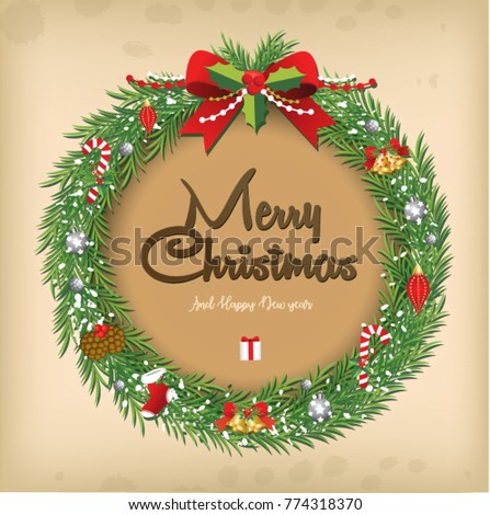 Christmas wreath vector old paper vintage style #774318370
