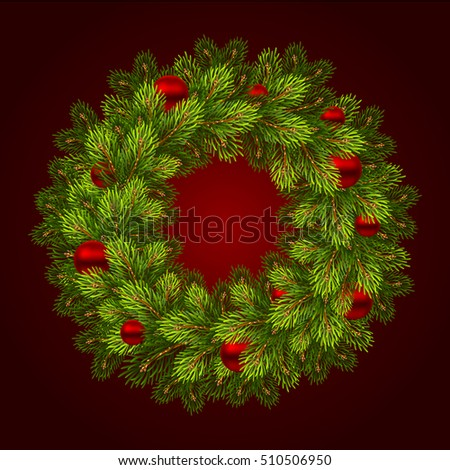 Christmas wreath with balls. Vector illustration