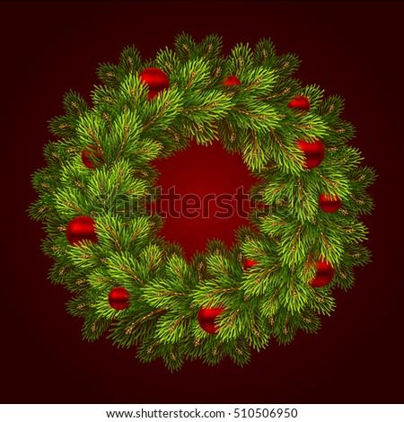 Christmas wreath with balls. Vector illustration