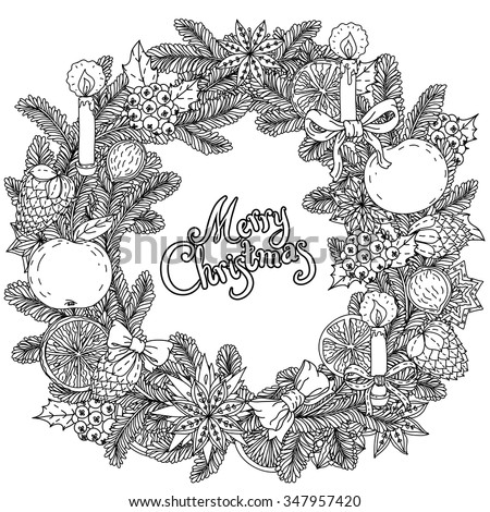 Stock Photo Christmas wreath  with decorative items, hand-drawing includes text Merry Christmas. Black and white . Zentangle patters.  The best for your design, textiles, posters, coloring book