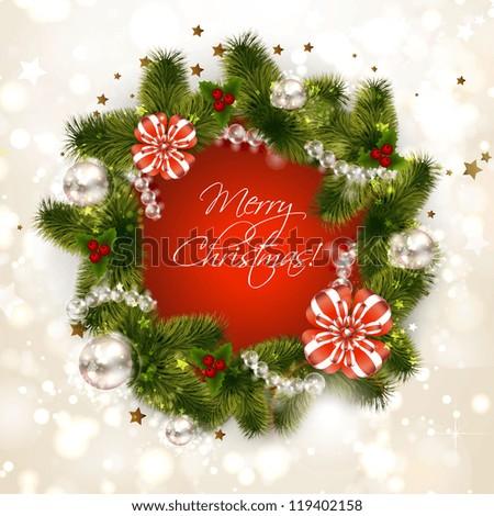 Christmas wreath with fir and holly #119402158