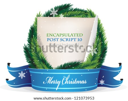 Christmas wreath with old parchment and blue ribbon on a white background